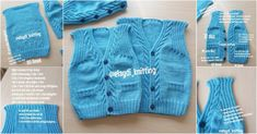 Narrated Baby Vest for Beginners Baby Knitting Patterns, Baby Booties Knitting Pattern, Baby Pullover, Baby Cardigan, Crochet For Boys, Crochet Baby, Toddler Vest, Moda Outfits, Sweater Hat