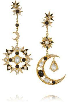 Percossi Papi Sun and Moon gold-plated multi-stone earrings. Black Diamond Jewelry, Diamond Gemstone, Gold Jewelry, Jewelry Box, Jewellery, Moon Earrings, Star Earrings, Gold Plated Earrings, Silver Earrings