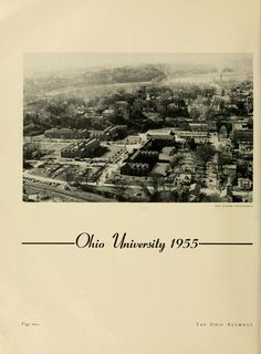 The Ohio Alumnus, February 1955. Birds-eye view of campus. :: Ohio University Archives