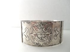 Vintage Sterling Silver Mayan Symbol Cuff by NowAndThenShop
