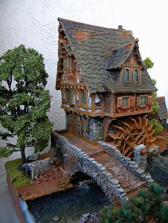Miniature Windmill Cottage Fantasy Village, Fantasy Town, Fantasy House, Medieval Fantasy, Zombicide Black Plague, Planet Coaster, Medieval Houses, Building Concept, Wargaming Terrain