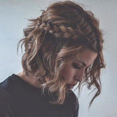 Short hair can get in on the braid trend too - plait two think braids along the front and finish off with soft, flowing waves #braids #hairstyle