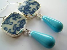 Pottery Shard Earrings - Blue & White Recycled China by polishedtwo, $15.00 love it! #ecrafty