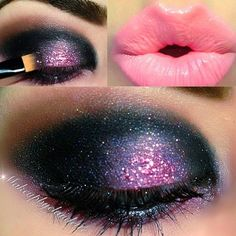 Super-chic Shimmer Purple Eye make up Purple Eye Makeup, Skin Makeup, Beauty Makeup, Black Makeup, Glitter Makeup, Pink Glitter, Cute Makeup, Pretty Makeup, Awesome Makeup