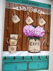 Resultado de imagem para opa stencil sala Tole Painting, Fabric Painting, Painting On Wood, Coffee Theme, Coffee Art, Wood Crafts, Diy And Crafts, Country Paintings, Craft Day
