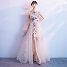 Chic / Beautiful Champagne Evening Dresses 2018 A-Line / Princess Sequins Scoop Neck Sleeveless Floor-Length / Long Formal Dresses Best Cocktail Dresses, Best Formal Dresses, Cocktail Bridesmaid Dresses, High Low Prom Dresses, Casual Dresses, Fashion Dresses, Fashion 2017, Paris Fashion, Fashion Trends