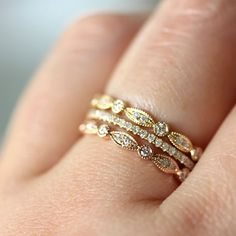 Micro Pave White Diamond Band in 14K Gold (size 4 - 7) - Made To Order. $325.00, via Etsy.