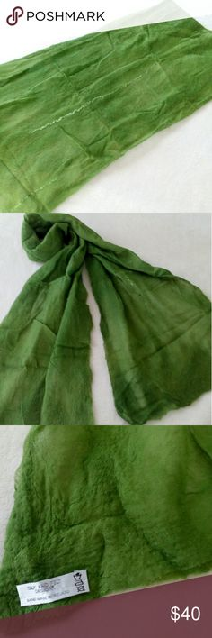 """Textured Felt & Silk Scarf Handmade from Ireland 🍀 This scarf is crafted using a fabric felting technique called Nuno.  Look closely and you will see how the wool is bonded into the Silk creating a lightweight felt. The texture and colors are beautiful! Approx 54"""" L x 12"""" W. No rips or stains! There are fold lines that I did not try to iron out. This is a one of a kind scarf!! 🍀 SILK AND FELT DESIGNS Accessories Scarves & Wraps"""