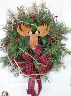 Christmas Wreath, Moose Wreath, Holiday Wreath, Rustic Wreath, Winter Wreath, Whimsical Wreath by HeatherKnollDesigns on Etsy