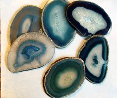 Large Blue Agate Slice Gemstone Coasters