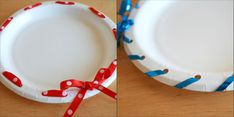 Dress up a simple paper plate with a hole punch and ribbon.  Great for delivering holiday treats!