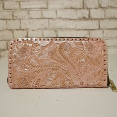 Women's Wallet, Leather, Handmade , Hand Tooled Leather, Boho, Bohemian, Large, for Cards, pink wallet, Gift for Her by aymxleather on Etsy Braided Leather Belt, Leather Pouch, Leather Tooling, Cow Leather, Cowhide Leather, Small Coin Purse, Wallets For Women Leather, Brown Purses, Leather Design