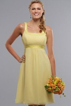 Yellow Short Chiffon Bridesmaid Dress With Scoop Neckline  SPECIAL PRICE: $63.00 (PINK) kind of beachy!