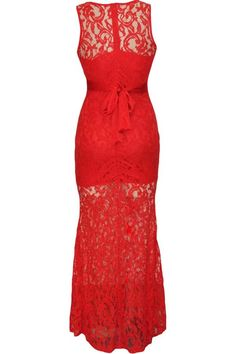This sexy maxi dress is what you need to get noticed at your next party! Featuring lace fabric, round neck, sleeveless styling, satin belt. Pair this dress with your stiletto heels for a perfect look!