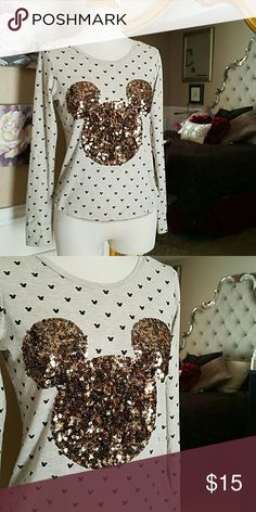 Disney Mickey Mouse Sequin Shirt I cannot handle the cuteness yall! A Disney sequin Mickey on top mini Mickey's all over - front and back.   Size Small Disney Tops Tees - Long Sleeve