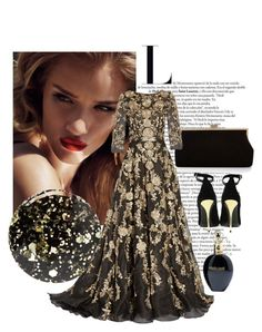 """Gold ball gown dress"" by divatmalom on Polyvore featuring Mode, Balmain, Monsoon, Roberto Cavalli, Nails Inc., Marchesa, women's clothing, women, female und woman"