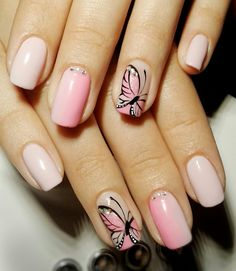 Number One Question You Must Ask For Diseo De Uas Faciles Paso A Paso 55 - sitihome Butterfly Nail Designs, Nail Tip Designs, Butterfly Nail Art, Nails Design, Glam Nails, Fancy Nails, Cute Nails, Colorful Nail Art, Baby Boomer
