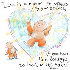 Love is a mirror ~ Buddha Doodles Tiny Buddha, Little Buddha, Buddha Zen, Buddah Doodles, Yoga Supplies, Basic Yoga, Yoga For Kids, Illustrations, Cute Quotes
