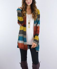 Burgundy & Yellow Stripe Elbow Patch Open Cardigan