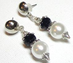 Earrings Black White Glass Pearl Faceted Black Glass Rondelles Silver Plate  FREE SHIPPING. $6.95, via Etsy.