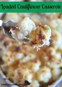 Loaded Cauliflower Casserole | Real lHousemoms | Delicious side dish or lunch with yummy bacon and cheese