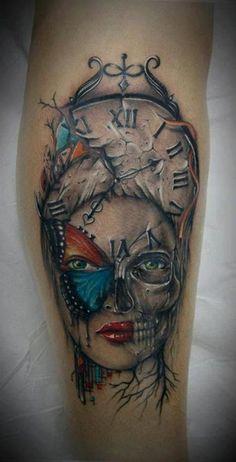 Bacanu Bogdan did this cool clock face. #InkedMagazine #skull #clock #butterfly #tattoo #tattoos #Inked #Ink