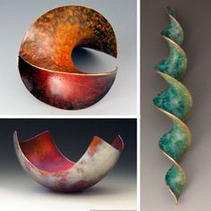 """Top left, Hyperbolic Paraboloid Extension; right, Double Helix; both by Michael Good.  Patinas by Carlton Leavitt.  Pictures from """"Creative Metal Forming"""", a book by Cynthia Eid and Betty Helen Longhi."""