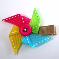 Summer Pinwheel Hair Bow - Toddler Summer Hair Clip - Pinwheel Barrette - Baby Bow - Ribbon S. Ribbon Hair Clips, Hair Ribbons, Ribbon Art, Diy Hair Bows, Ribbon Bows, Grosgrain Ribbon, Flower Hair Clips, Barrettes, Hairbows