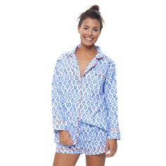 Blueberry Ikat Short Pajama Set