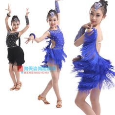 ac31e13ff Child Latin dance costume sexy tassel child latin dance competition dresses  black and dark blue S-XXXL child dance dresses - Lingerie Life