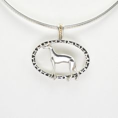 """Sterling Silver & 14Kt Gold  Italian Greyhound Pendant with 16"""" Silver Omega fr Donna Pizarro's Animal Whimsey Collection of Dog Jewelry by DonnaPizarroDesigns on Etsy"""