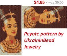 SALE Nefertiti egypt peyote pattern women face eyes golden pattern Beaded pattern unique pattern beadwork cute bracelet delica tutorial j...