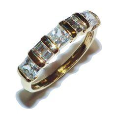 Fully Hallmarked 14ct Yellow Gold & QVC Gem Set ½  Eternity Ring - UK Size O