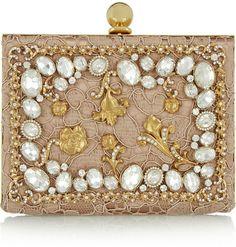 edb4b02976 Dolce  amp  Gabbana Ava crystal-embellished satin and lace box clutch on  shopstyle.