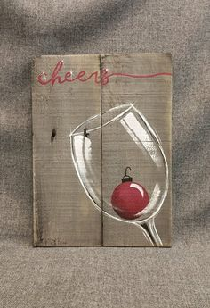 Christmas wine, pallet wall art decor, red christmas pear, christmas deco … - Crafts for adult Pallet Christmas, Christmas Wine, Easy Christmas Crafts, Rustic Christmas, Simple Christmas, Christmas Bulbs, Christmas Decorations, Christmas Canvas, Christmas Wall Art