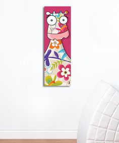 Pink Floral Cow Canvas