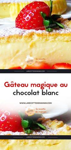 White Chocolate Magic Cake – Mommy's Recipe by qaysert Dessert Simple, White Chocolate Cake, Sponge Cake, Easy Desserts, Nutella, Carne, Strawberry, Pudding, Sweets
