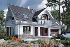 Projekt domu Heliodor As - murowana – beton komórkowy - koszt budowy - EXTRADOM Minimal House Design, Minimal Home, Cottage House Plans, Cottage Homes, Style At Home, Micro House, Dream House Exterior, Home Fashion, Home Deco