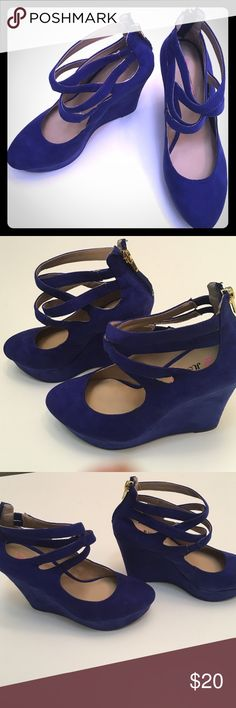"Just Fab royal blue strappy wedges Royal blue platform wedges. 1.5"" platform, 5"" wedge. Zipper back. 4 elastic criss cross straps. Style: Beatrix JustFab Shoes Wedges"