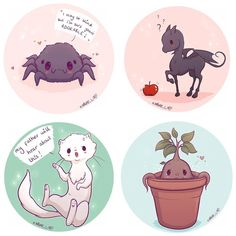 Hey guys these four are now available as stickers on my store with the other magical creatures I'm planning on opening commissions soon but I need to re plan pricing and timing etc so bare with me I'm trying Fanart Harry Potter, Images Harry Potter, Arte Do Harry Potter, Cute Harry Potter, Harry Potter Artwork, Harry Potter Drawings, Harry Potter Wallpaper, Harry Potter Universal, Harry Potter Fandom