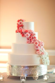 Pink and white ombre floral cake | Caroline Tran Photographer | www.theknot.com