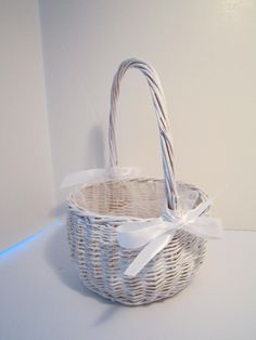 SOLD - Woven Wicker Flower Girl Basket with Tulle Insert and Satin Bows - Pure Sweetness and Simplicity by VKVDesigns on Etsy