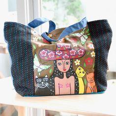 """ア・ハッピーワールド ハンドペイントバッグ 「キャッツ & ジョナ」 Happy World """"Cats and Jonna"""" hand painted bag - Beckyson ベッキーソン http://www.beckyson.co/?pid=69096363  It's a Happy World """"Cats and Jonna"""" hand painted bag Thai hand made  W 34cm × H 23m × D 9cm Adjustable strap"""
