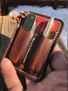 Leather Gear Caddy, everyday carry your Pocket Knife, Fisher Bullet Space Pen, credit cards and some cash - PERSONALIZED Iphone Holster, Leather Skin, Leather Gifts, Handmade Leather, Space Pen, Edc Everyday Carry, Leather Holster, Leather Projects, Leather Accessories