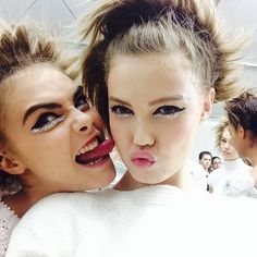 CARA DELEVINGNE and LINDSEY WIXSON BACKSTAGE at CHANEL HAUTE COUTURE SPRING 2014
