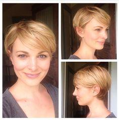 Short blonde long layered pixie with highlights @Melanie #madabeauty #pixie #blonde  Mada Beauty- Melanie Trayer, Portland, Oregon