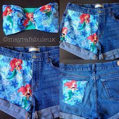 ANY SIZE The Little Mermaid High Waisted Shorts - Mayrafabuleux Original Design on Etsy, $32.00