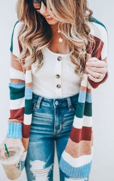 Autumn And Winter Fashion Striped Knitted Cardigan Herbst- und Wintermode Gestreifte Strickjacke – Ecocheefashion Striped Cardigan, Striped Knit, Rainbow Cardigan, Leopard Cardigan, Fall Winter Outfits, Autumn Winter Fashion, Summer Outfits, Cute Outfits For Fall, Christmas Outfits