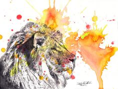 Portrait of a Lion Animal Watercolor Painting - Original Watercolor Great Kids Childrens Wall Art Nursery Decor and Every Lion Lover via Etsy