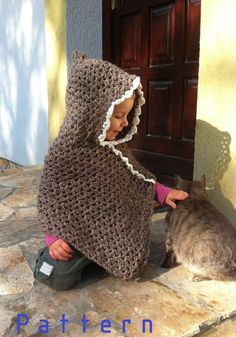 Crochet pattern-Classic Light Brown Poncho With White Border for 1 to 6 years old little girls/toddler/baby $5.00 USD